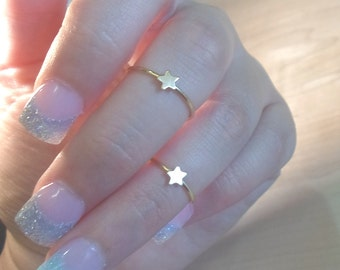 Star ring, Tiny star ring, Star Knuckle Ring, Gold star ring, gold midi ring, midi ring, gold knuckle ring, knuckle ring, gold stacking ring
