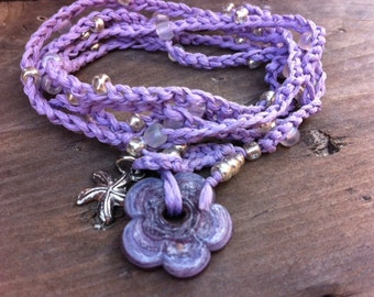 Crochet Wrap Silver & Pale Pink Beaded Summer Bracelet With Mauve/Purple Glass Flower Toggle