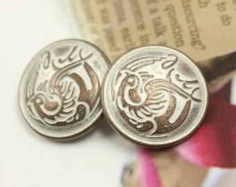Metal Buttons - Flying Swallow Metal Buttons , Copper White Patina Color , Shank , 0.87 inch , 6 pcs