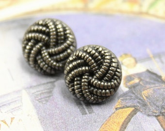 Metal Buttons - Ribbon Knot Metal Buttons , Nickel Silver Color , Shank , 0.39 inch , 10 pcs