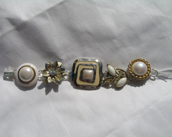Vintage earring upcycled jewelry bracelet in gold, silver, pearl tones