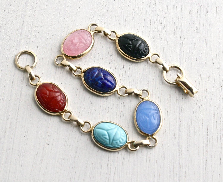 Vintage Glass Scarab Bracelet Retro Gold Tone Egyptian