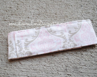 READY TO SHIP Elegant Pink and Taupe Damask Diaper Strap, Diaper Keeper, Diaper Bag Organizer, Nappy Strap