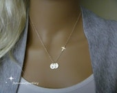 Sideways Cross Necklace - Initial Necklace - Two Initial Disc - One or More Disc - Personalized Charm - Faith Charm - Mommy Necklace