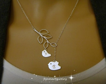 Mommy and Baby Bird Necklace with Initials - Bird Lariat Necklace - Mother and Child Jewelry