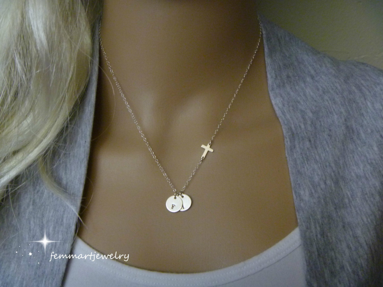 Sideways Cross Necklace Initial Necklace Two Initial Disc