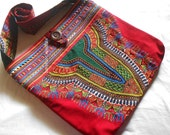 Ooak Red Dashiki Crossbody bag,  Large Ethnic Bohemian chic, African and Thai Hilltribe patchwork, Large Sling bag.