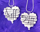 Bff Music Note Necklace Set- Bff Charms/Friendship Necklace/Heart Necklace/Bff Jewelry/Best Friend Jewelry