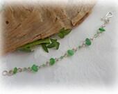 Beach Glass Bracelet - Green Sea Beach Glass Wire Wrapped Spirals Bracelet STERLING SILVER