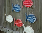 School Of 6  Wooden Fish, Rustic Wall Hanging, Lake House Decor, Nautical Wall Art