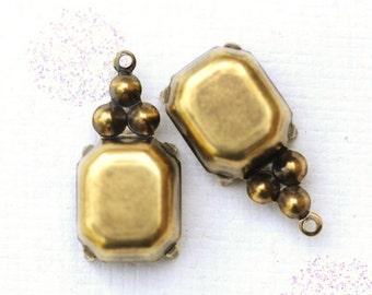 Multi Stone Setting, 12x10mm Octagon Setting, Antiqued Brass Plating, Single Loop Ring, Quantity 2