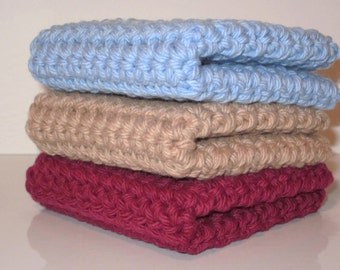 Crochet Wash Cloths, Dish Cloths, 100% Cotton, Set of 3