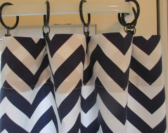 SALE SALE Two Curtain Panels 25 x 84  Navy zigzag