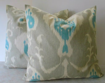 SALE Ships Today Set of Two 18 x 18   Premier Prints  Ikat Fabric Both Sides
