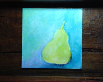 Original Abstract Painting Yellow Pear  Seafoam Green Violet