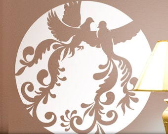 Dove Birds Wedding Decor Vinyl Wall Decal: Flying Doves Silhouettes in Circle Moon