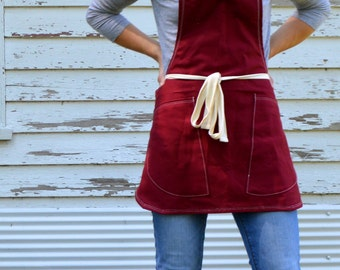 Canvas Utility Shortie Apron Made to Order 7-10 days processing time