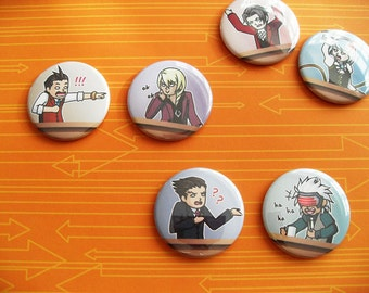 Ace Attorney Phoenix Wright Apollo Justice lawyers video game pinback buttons