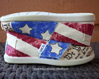 Vintage American Flag with Declaration of Independence and Constitution - Custom Painted TOMS Shoes - Old Glory - Stars and Stripes