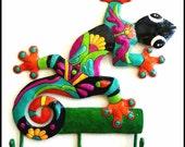 Metal Wall Hook - Hand Painted Gecko, Haitian Recycled Steel Drum Art - Gecko Towel Hook, Bathroom Decor -Tropical Home Decor -  M-402-OR-HK