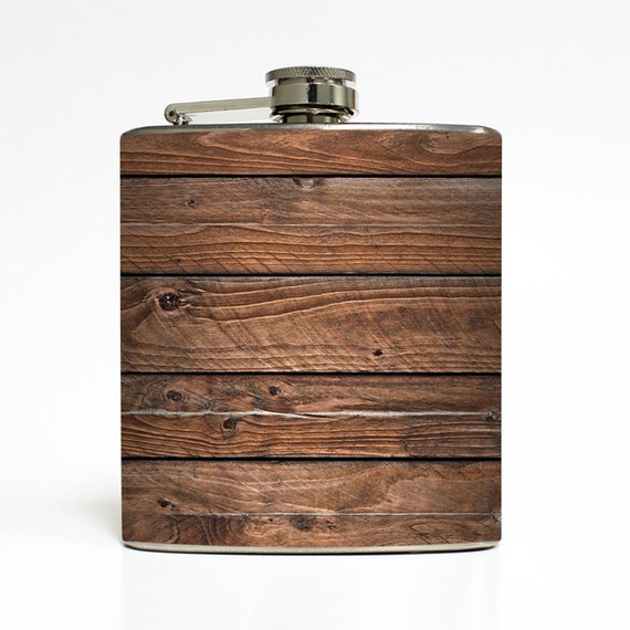 Distressed Brown Old Barn Wood (Not Real Wood) Whiskey Flask Wedding Groomsmen Birthday Gift Stainless Steel 6 oz Liquor Hip Flask LC-1106