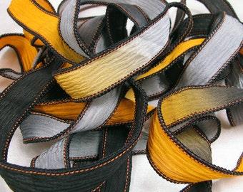 Hand Dyed Silk Ribbons - Crinkle Silk Jewelry Bracelet Fairy Ribbon - Black Orange Grey Quintessence - Harvest Moon