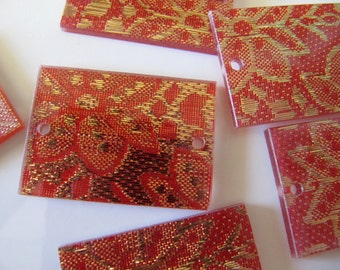 35mm Resin Jewelry CONNECTORS in Orange with Gold Lace, Antique Style, 10 Beads, 35mm x 25mm, Rectangle