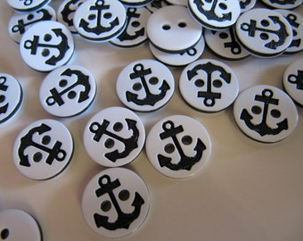 Anchor Buttons in White Plastic with Black Design, 1/2 Inch, 12mm, 20 Pieces, Great for Sewing and Crafts