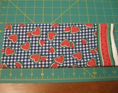 Fat Qtr - Watermelon Hearts on Blue & White Check Cotton Fabric