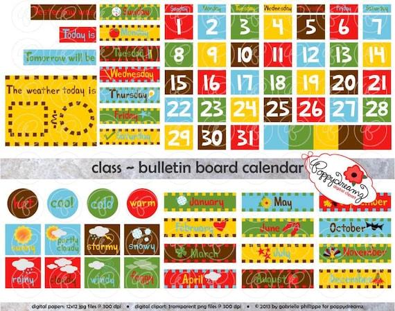 Calendar Clipart For Teachers : Class bulletin board calendar clipart set dpi school