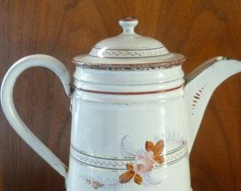 Vintage Graniteware Enamelware Coffee Pot, Petite Floral Design