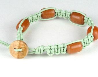 Seafoam blue leather stack bracelet amber beads macrame leather boho hippy chick