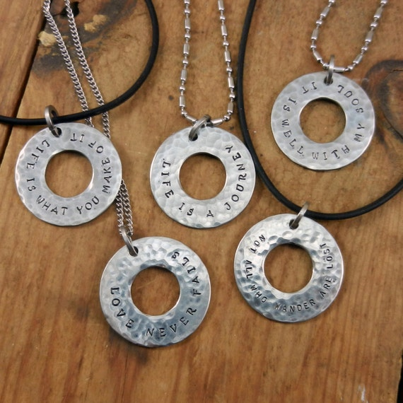 Hand stamped washer necklace faith life inspirational for How to make hand stamped jewelry