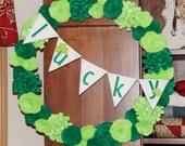 St. Patrick's Day Wreath St. Patrick's Day Decoration St. Patrick's Day Decor Green Wreath Felt Flower Wreath Custom Color Wreath