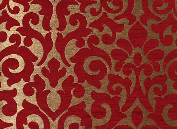 Custom Curtains with Burgundy / Gold Damask Pattern One Panel