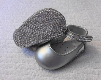 10 DOLLARS OFF Ready To Ship Size 1- Bling Baby Shoes-Silver Leather Mary Janes With Swarovski Crystal Rhinestones