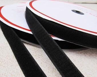 20mm / 0.7inch Black Velcro - Hoop and Loop - 2meters