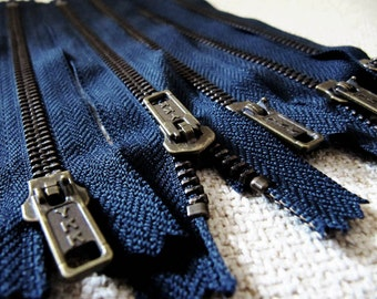 7inch - Navy Blue Metal Zipper - Brass Teeth - 5pcs