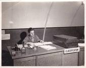 Soldier at Desk - Vintage Photograph, Vernacular, Ephemera (ZZ)