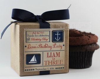 NAUTICAL BIRTHDAY BOY ... One Dozen Personalized Cupcake Mix Party Favors
