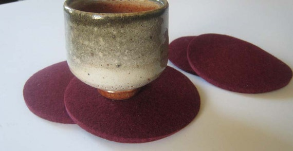 Burgundy Coaster Set Drink Coasters Table Coasters Bar