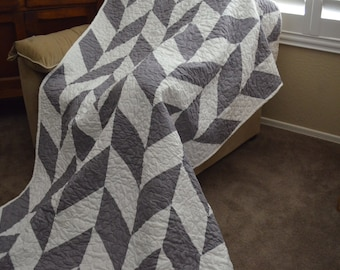 Quilt Herringbone Gray and White Quilt Twin Made to Order