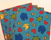 UnPaper Towels- Cleaning Cloths- Eco friendly- Set of 10- Hearts & Animals