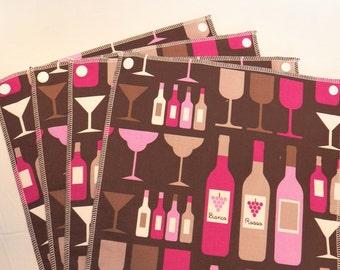 UnPaper Towels- Cleaning Cloths- Eco friendly- Set of 12- Wine Bottles on Purple- 32016
