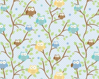 Snips & Snails Owls Blue by Doodlebug Designs for Riley Blake, 1/2 yard