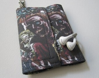 Nerd Herder gadget wallet in Zombie Horde (olive) for iPhone 5, Android, iPhone 6+, guitar picks, digital camera, earbuds