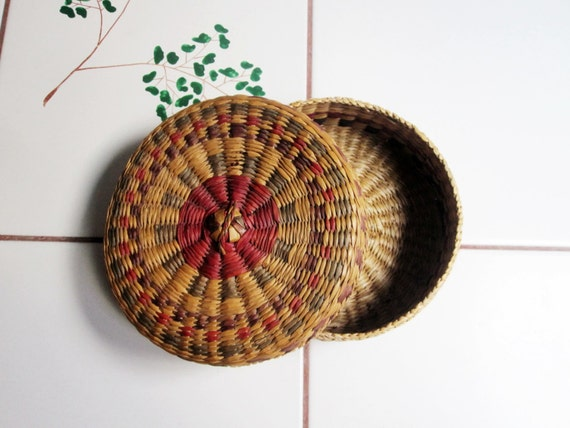 small african woven basket with lid fulani tribe. Black Bedroom Furniture Sets. Home Design Ideas