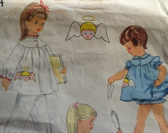 50s Girls Size 2 Pajamas Baby Dolls & Nightgown Pattern with Angel Appliqué Simplicity 1824