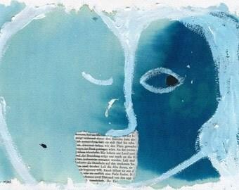 Truths I - giclee print, kissing couple. Outsider art, raw art, art brut