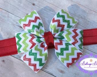Christmas headband, infant headband, baby headband, newborn headband, chevron headband, Christmas bow